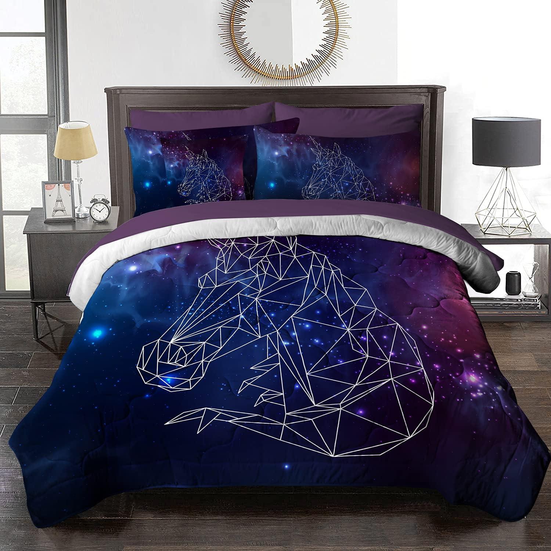 Colorado Springs Mall BlessLiving Regular dealer 8 Piece Comforter Set Space Unicorn Desi Blue Purple