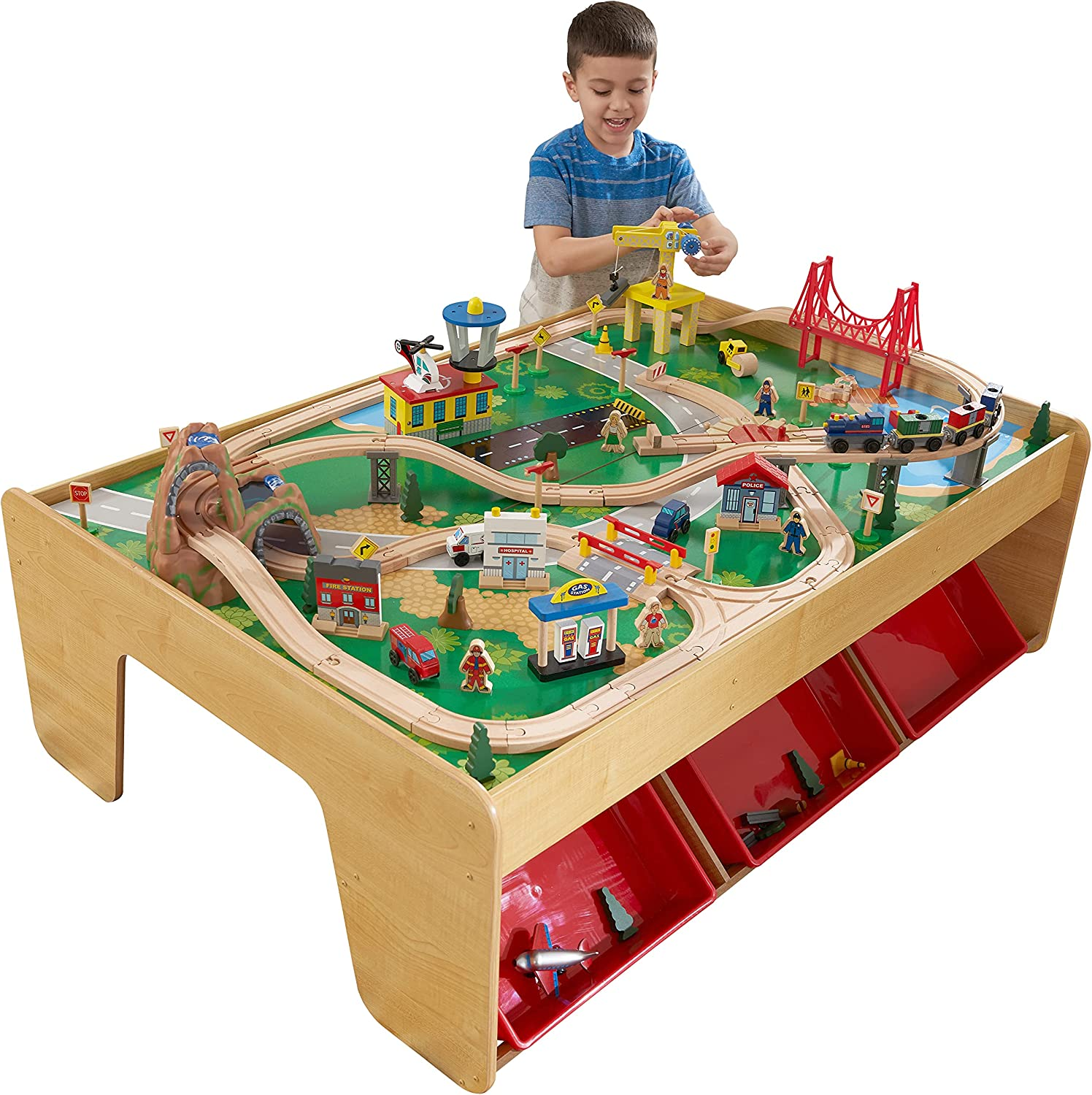 KidKraft Waterfall Mountain Wooden Train Pi Dallas Mall 120 Table with Financial sales sale Set