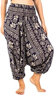 Lofbaz Women's Peacock Print 2 in 1 Harem Pants Jumpsuit