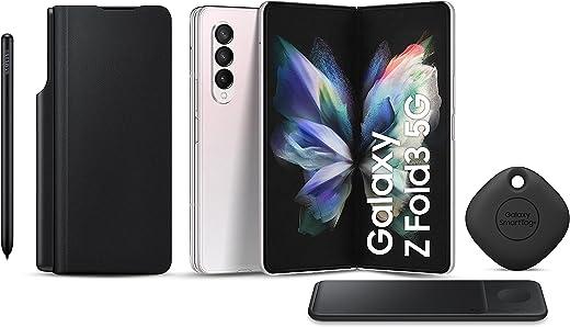 هاتف سامسونج جالاكسي زد فولد3 ثنائي الشريحة - 256 جيجابايت، 12 جيجابايت رام، 5G، فضي (نسخة KSA ) + شاحن لاسلكي ثلاثي + غطاء قلاب لهاتف سامسونج مع S Pen + بطاقة سامسونج سمارت