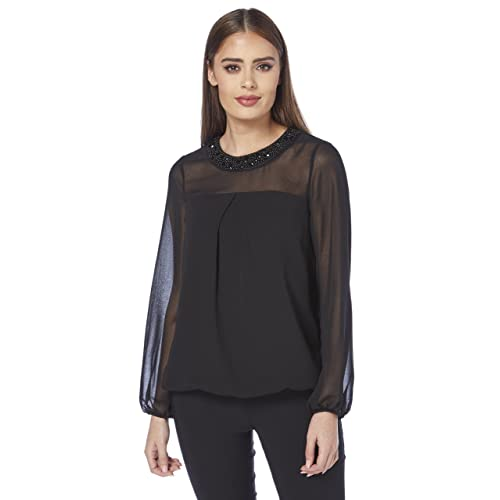 6bd3fe182cacf Roman Originals Women s Black Embellished Round Neck Collar Chiffon Sleeve  Top Sizes 10-20 -