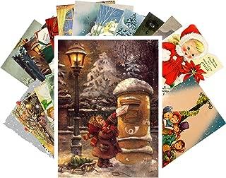 Vintage Christmas Greeting Cards 24pcs Children Goes for Christmas Reprint Postcard Set