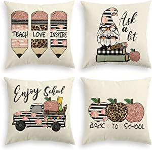 AVOIN colorlife Back to School Stripes Leopard Pencil Watercolor Buffalo Plaid Book Gnome Truck Apple Throw Pillow Covers, 18 x 18 Inch Pillows Cushion Case for Sofa Couch Set of 4