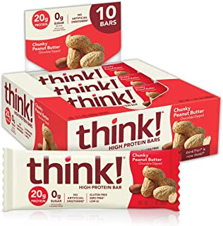 think! (thinkThin) High Protein Bars - Chunky Peanut Butter, 20g Protein, 0g Sugar, No Artificial Sweeteners, Gluten Free,...