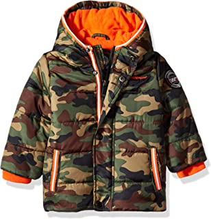 Weatherproof Baby Boys Bubble Jacket with Camo Sherpa Lining