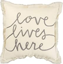 Primitives by Kathy Embroidered Frayed Edge Throw Pillow,12 x 12-Inches, Love Lives