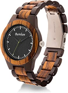Burnham Watches BURNHAM AG-2021 | Mens Wooden Watch Ebony Wood & Zebrawood With Rare, Upgraded Swiss Movement And Calendar Handcrafted With Solid Wood