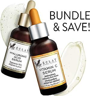 Organic Vitamin C Serum + Organic Hyaluronic Acid Serum - Combo Pack - 100% Vegan & Dermatologist Developed