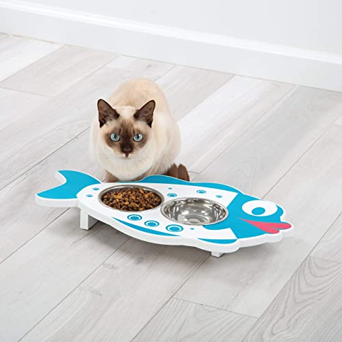 wholesale E.P.C Elevated Hand Painted Fish high quality Design Wood Pet Feeder with 2 Stainless discount Steel Bowls outlet online sale
