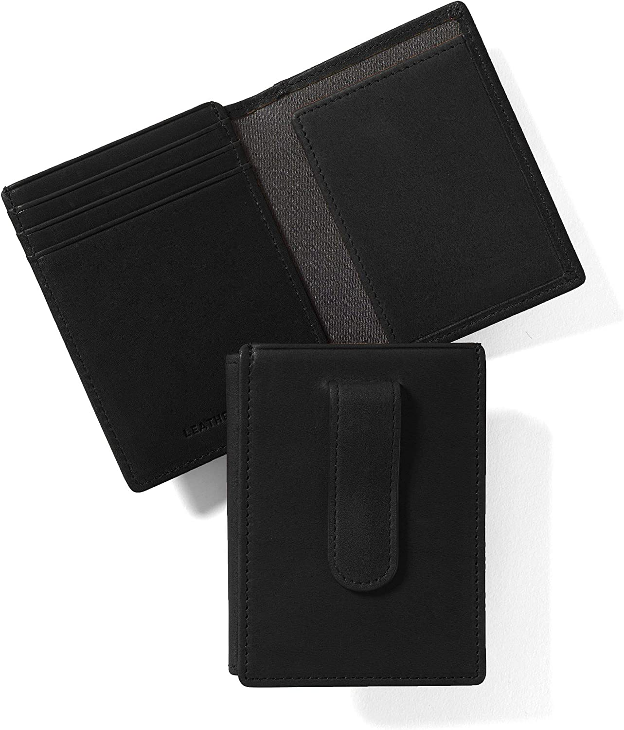 Leatherology Black Oil Men's Money with Max 52% OFF Clip Card Holder Max 79% OFF Wallet