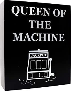 JennyGems Casino Jackpot Slots Inspired Wood Gift Sign - Queen of the Machine -Slot Machine Keepsake Decoration for Casino Lovers