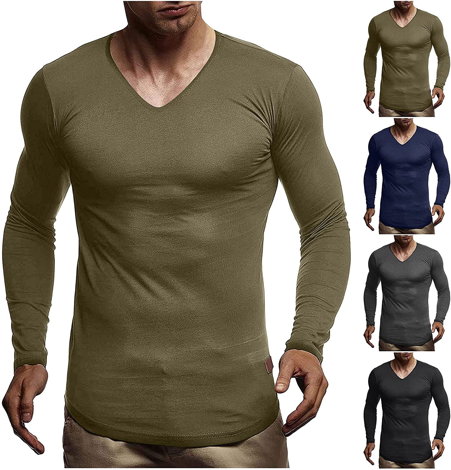 xoxing Long Sleeve for Men Plus Size Casual Loose V-Neck Solid Fit Pleated Shirt Pullover Fitness Blouse