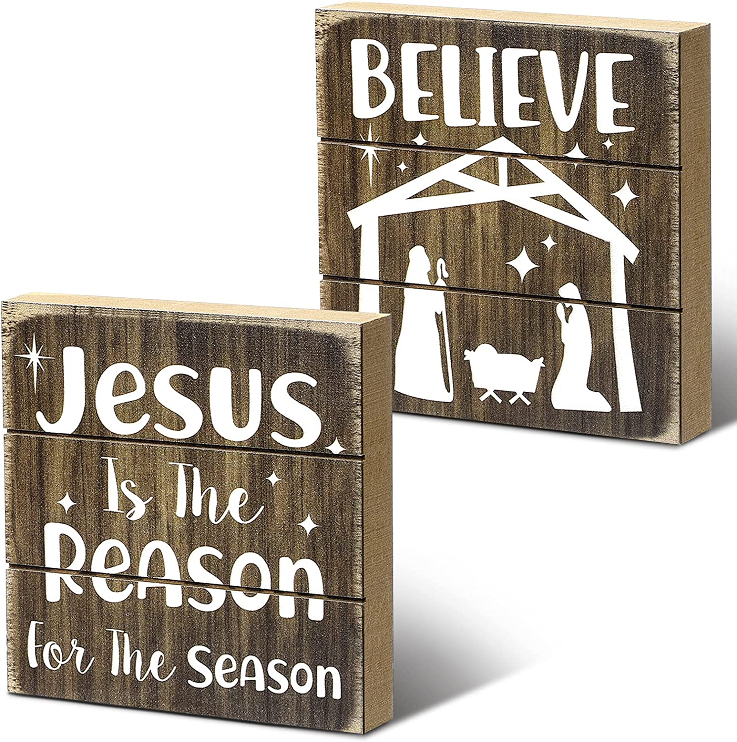 Rustic Christmas Sign Jesus is The Reason for The Season Decor Sign Xmas Believe Sign Nativity Scene Decorations Rustic Farmhouse Table Centerpiece for Home Wall Window Tiered Tray Holiday Decor