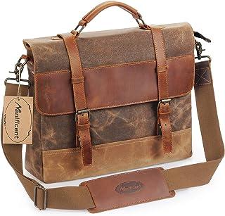 Manificent Men's Messenger Bag, 16 Inch Vintage Waxed Canvas Genuine Leather Large Satchel Shoulder Bag Waterproof Canvas Leather Computer Laptop Bag,Briefcase Tablet Messenger Bag