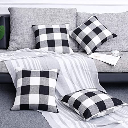 Volcanics Buffalo Check Plaid Throw Pillow Covers Set of 4 Farmhouse Decorative Square Pillow Cover Case Cushion Pillowcase 18x18 Inches for Home Decor Sofa Bedroom Car