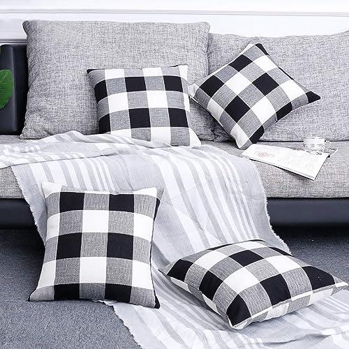 Volcanics Buffalo Check Plaid Throw Pillow Covers Set of 4 Farmhouse Decorative Square Pillow Cover Case Cushion Pill...