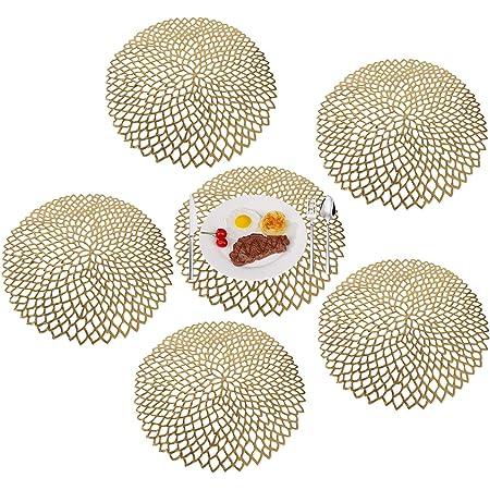 MaoXinTek Set de Table Napperon Antidérapant Lavable en PVC Lot de 6 Placemat Elegants Résiste à la Chaleur pour la Cuisine Restaurant d'or