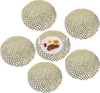 MaoXinTek Mantel Individual PVC Antideslizantes Resistente al Calor placemat Juego de 6 para la Mesa de Comedor de Cocina Oro