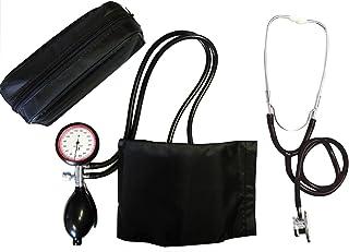 Tiga-Med - Tensiómetro de brazo con 2 tubos y estetoscopio de doble cabezal, color negro