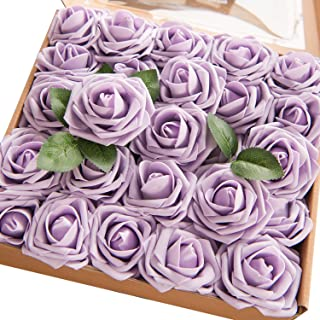 Ling's moment Artificial Flowers 25pcs Real Looking Lilac Fake Roses w/Stem for DIY Wedding Bouquets Centerpieces Bridal Shower Party Home Decorations