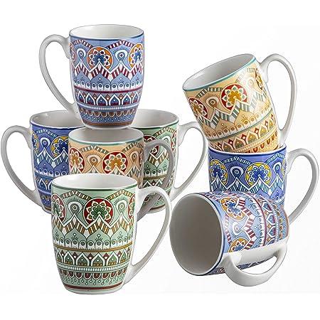 vancasso, Série Mandala, Tasses Mugs en Porcelaine, 8 Pièces 300ml, Ensemble de Tasse à Café Thé, Faïence Style Bohémien
