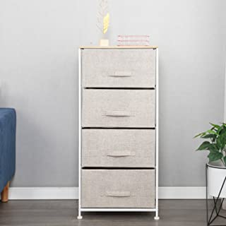 4-Drawer Storage Organizer Unit, Easy Pull Fabric Bins Metal Frame,Storage Organizer Unit Easy Assembly for Bedroom, or Pl...