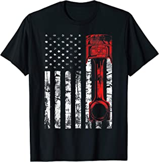 Patriotic Auto & Diesel Mechanic USA Flag Piston T-shirt