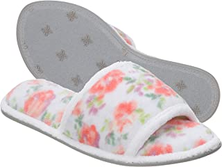 Dearfoams Women's Beatrice Microfiber Terry Slide with Quilted Vamp Slipper, Pink Floral, Large