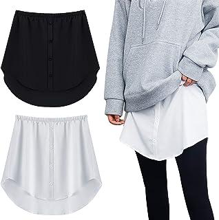 2 Pieces Adjustable Layering Fake Top Lower Sweep Shirt Extender Half-Length Mini Skirt Hemline for Women