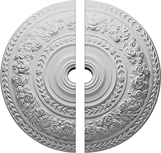 Ekena Millwork CM33RO2-02000 33 7 8  OD ID x 2 3 8  P pink Ceiling Medallion, Two Piece (Fits Canopies up to 13 1 2 ), Factory Primed White