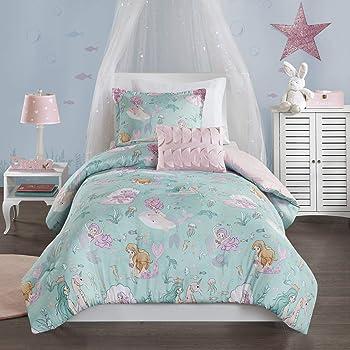 Mi Zone Kids Cozy Comforter Set, Colorful Fun Design All Season Children Bedding Girls Bedroom Décor, Full/Queen, Darya Mystical Mermaid Fantasy Aqua/Pink 4 Piece