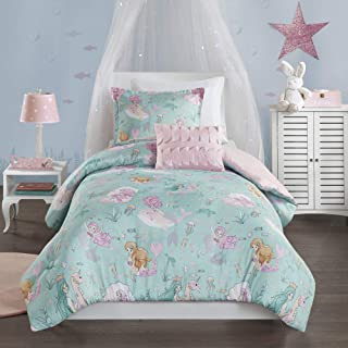 Mi Zone Kids Darya Comforter Mermaid Clam Shell Sea Ocean Whale Fish Printed Scale Pillow Ultra-Soft Overfilled Down Alternative Hypoallergenic All Season Bedding-Set, Full/Queen, Aqua/Pink