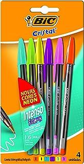 Caneta Cristal Intenso BIC, Multicolor, pacote de 6
