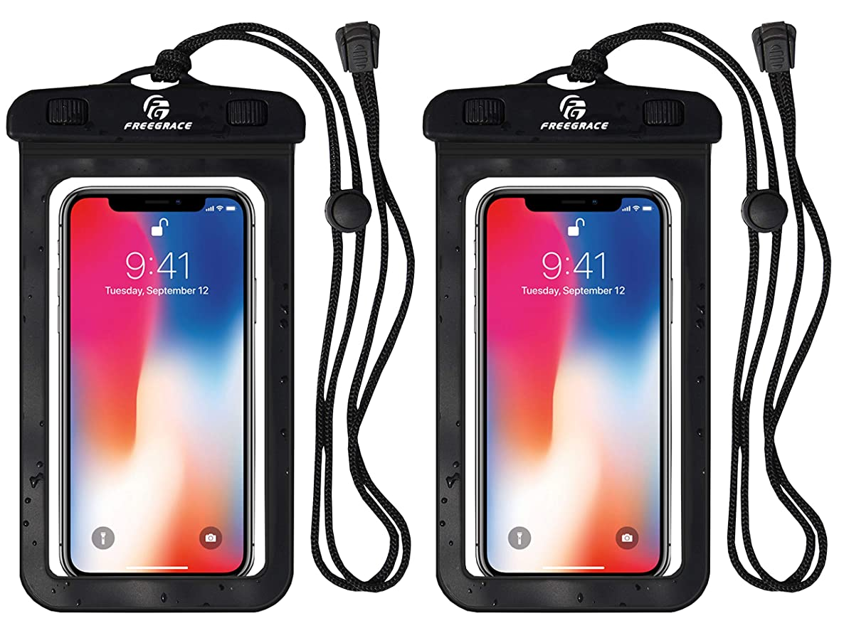Freegrace Waterproof Phone Case (2 Pack) with Neck Strap - Best Way to Keep Your Phone and Valuables Dry and Safe ixgvdidegwcnkpck