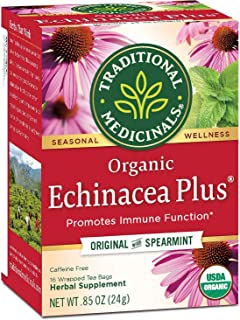 TRADITIONAL MEDICINALS Echinacea Plus Tea,16 Count (Pack of 3)