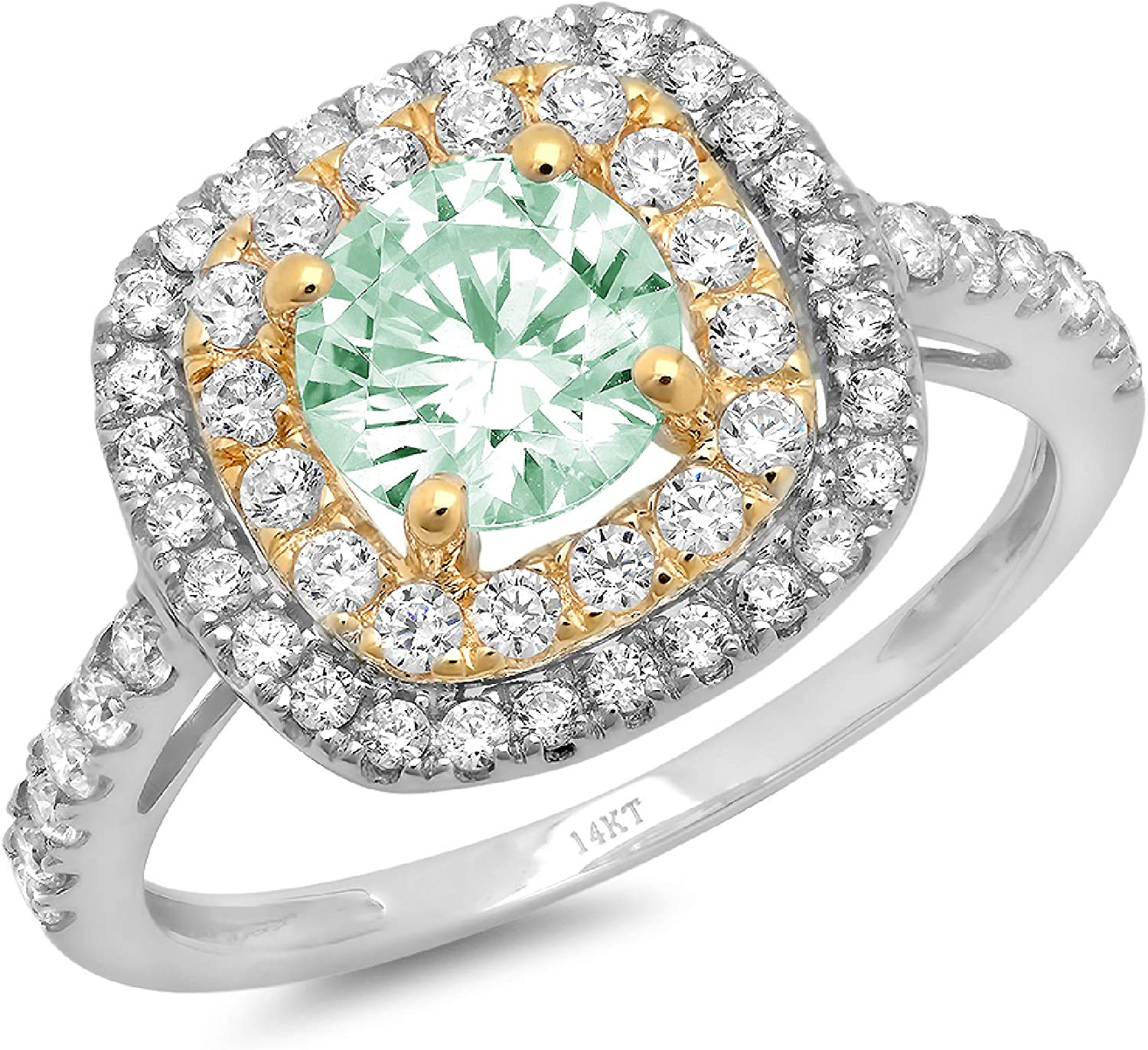 1.75 ct Round Cut Solitaire accent double Halo Davidsonite Mint Green Simulated Diamond Ideal VVS1 Engagement Promise Statement Anniversary Bridal Wedding Ring 14k White & Yellow Gold