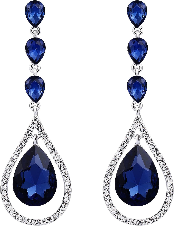 EVER FAITH Austrian Crystal Bridal Hollow-out Teardrop Pierced Dangle Earrings