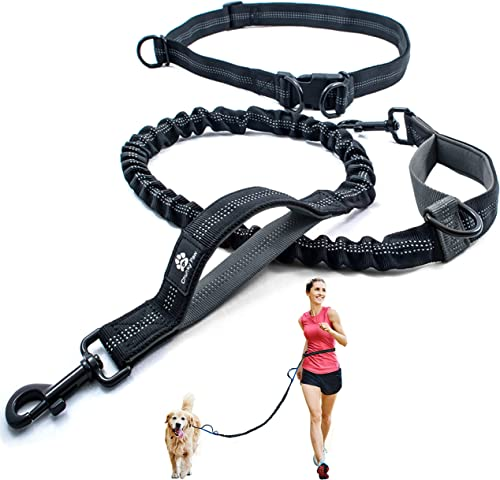 Hands Free Dog Leash for Running, Walking, Hiking, Jogging,Training for Medium and Large Dogs up to 150 lbs, Durable ...