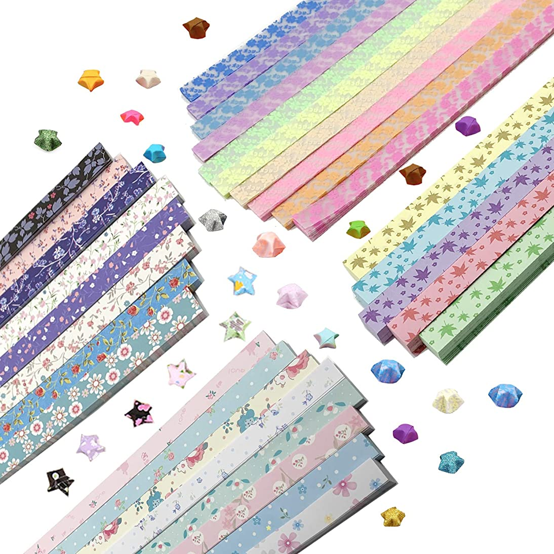 Wartoon Flower Maple Leaf Origami Stars Paper and Luminous Four-Leaf Clover Paper Set, 1820 Sheets