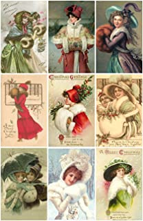 Victorian Vintage Winter Women with Muffs Christmas Cards #101 Printed Collage Sheet 8.5 x 11