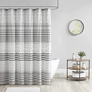 Urban Habitat Calum Clipped Jacquard Poms Cotton Shower Curtain Machine Washable, Traditional Home Bathroom Décor Bathtub ...