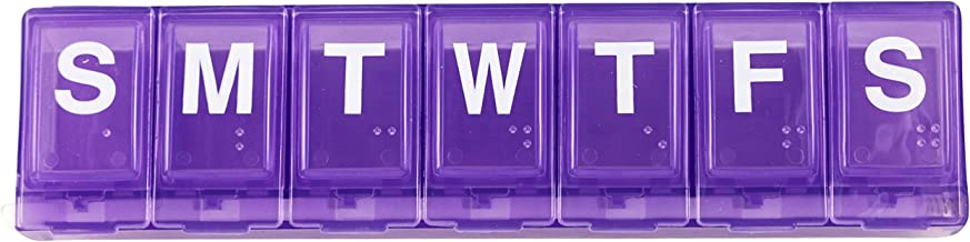 Ezy Dose Large Weekly / Locking Pill Planner with Braille , Purple, 3-Pack