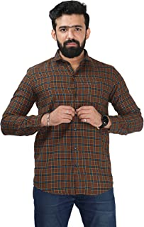 Color Play Men's Pure Cotton Slim Fit Twill Checks Lining Casual Full Sleeves Shirt