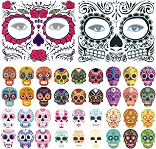 Day of the Dead Face Tattoos, Skeleton Tattoos Temporary, 6 Sheets Halloween Makeup Sugar Skull, Match Day of the Dead Costume, Glitter Red Roses Sugar Skull Tattoo Face, 36 Pcs, 6 Sheets