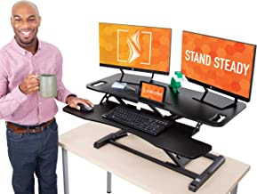 Flexpro Hero 37 Inch Standing Desk | 2 Level Standing Desk Converter with Keyboard Shelf and Monitor Riser | Large Dual Le...