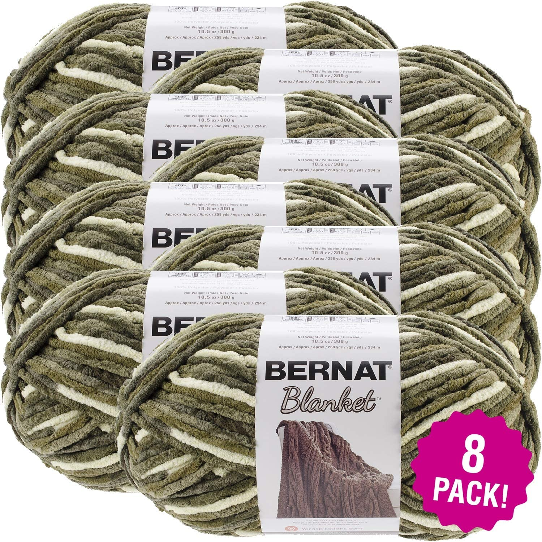 ODDITIES Bernat Blanket Big Ball Yarn 8 PkGathering Moss