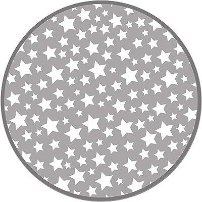 Panorama Tapis du Sol Vinyle Étoiles Gris Rond 100x100 cm - Tapis de Cuisine en PVC Linoléum Vinyle - Antidérapant Lavable Ignifuge - Tapis pour Cuisine Bureau Salon - Protection du Sol