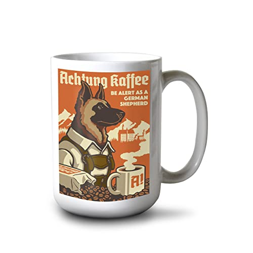 567b66575ccc20 Lantern Press German Shepherd - Retro Coffee Ad (15oz White Ceramic Mug)
