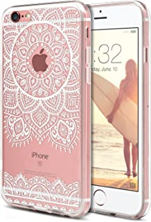 iPhone 6S Case, iPhone 6 Phone Cover,ROOEL [White Mandala Henna Artwork Pattern] Slim Soft Protective TPU Bumper Frame Hard Clear Transparent Acrylic PC Plastic Back Apple iPhone 6/6S