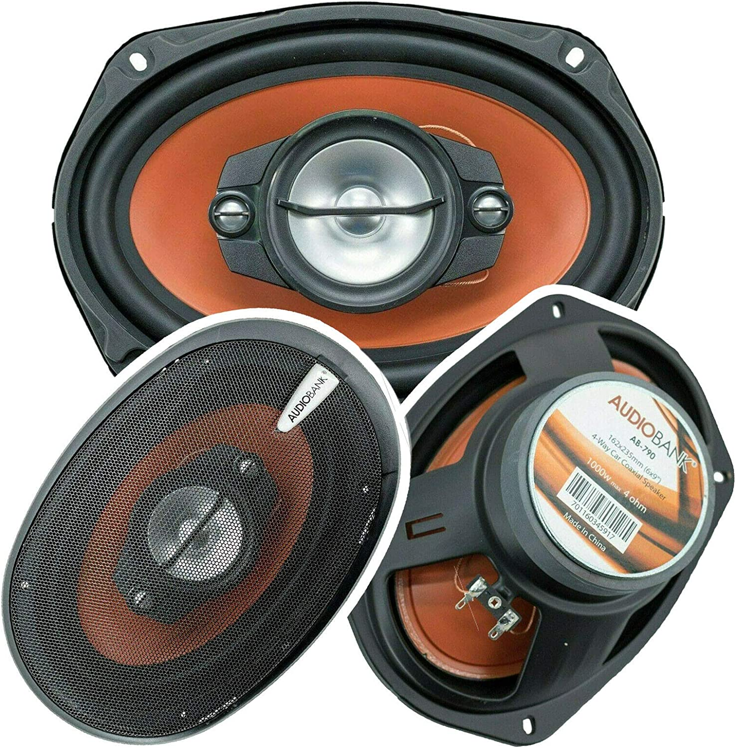 New Free Shipping 2X Audiobank AB-790 Max 67% OFF 6x9 -Inches 1000 Peak a for Watts Power Pair